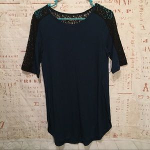 Old Navy Blue and Black Lace Shirt Size S......A3